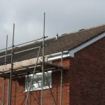 Scaffolding up and ready for solar PV installation